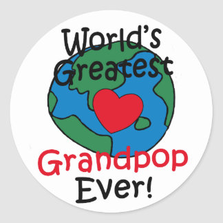 El corazón más grande de Grandpop del mundo Pegatina Redonda