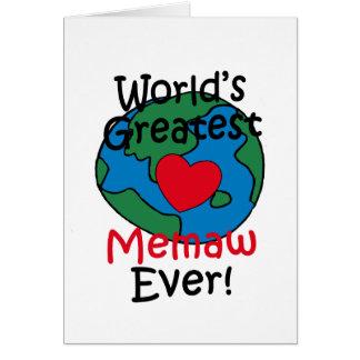 El corazón más grande de Memaw del mundo Tarjeta De Felicitación