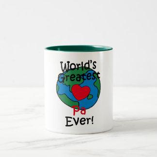 El corazón más grande del PA del mundo Taza De Café De Dos Colores