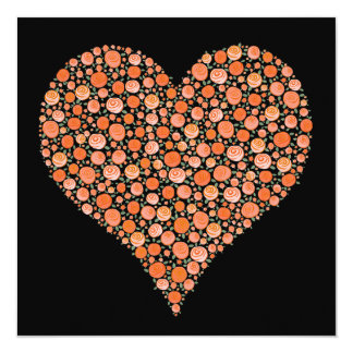 El corazón negro de los rosas de la mandarina del invitación 13,3 cm x 13,3cm