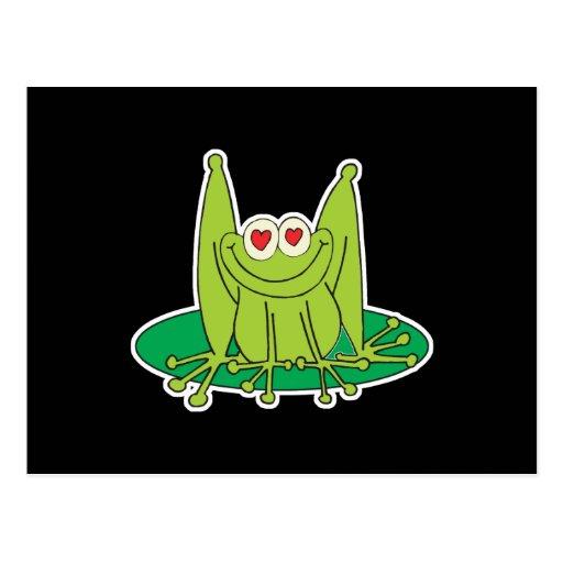 el corazón observa el froggy tarjetas postales