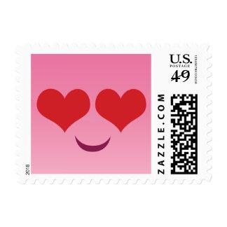 El corazón observa emoji rosado sello postal