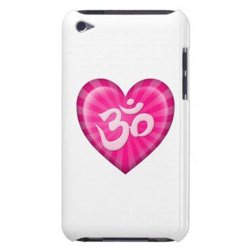 El corazón OM del amor de la yoga pica en blanco Barely There iPod Protector