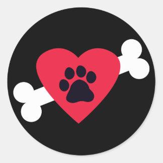 El corazón, Pawprint y el hueso diseñan los Pegatina Redonda
