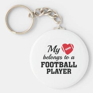 El corazón pertenece fútbol llavero redondo tipo pin