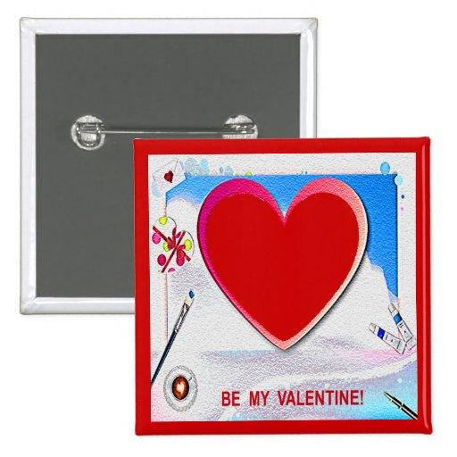 El corazón pintado de la tarjeta del día de San Va Pin