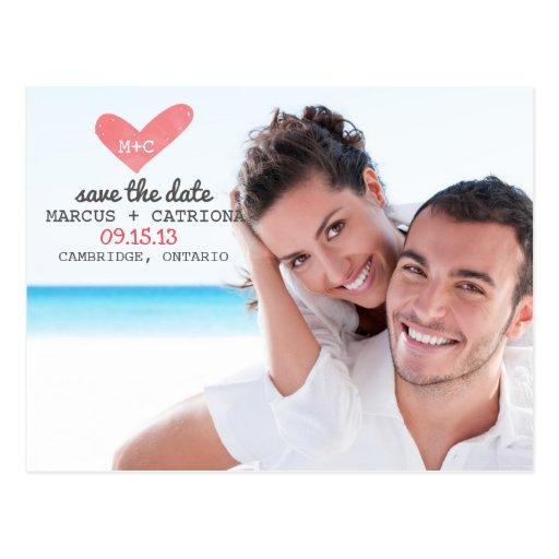 El corazón pintado escrito a máquina ahorra la pos tarjetas postales
