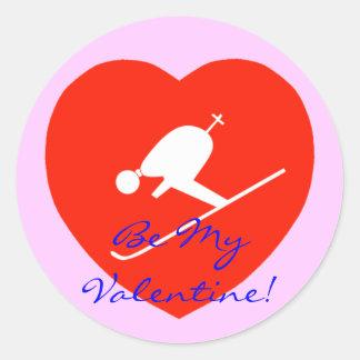 ¡El corazón rojo de esquí del amor, sea mi tarjeta Etiqueta Redonda