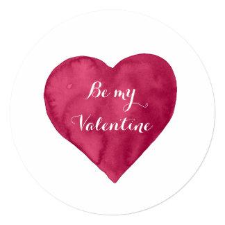 """El corazón rojo de la acuarela sea mi tarjeta del invitación 5.25"""" x 5.25"""""""