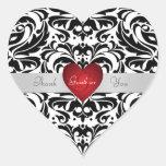 El corazón rojo del damasco negro y blanco le calcomanías corazones personalizadas