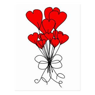 El corazón rojo florece el ejemplo de los postales