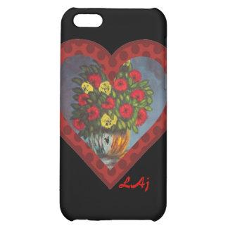 El corazón rojo florece en la caja negra del iPhon
