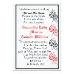 El corazón rojo y negro del amor con el boda del invitación 12,7 x 17,8 cm