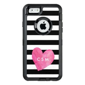 El corazón rosado de la acuarela personalizó el | funda OtterBox defender para iPhone 6