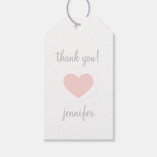 El corazón rosado y gris de encargo le agradece etiquetas para regalos