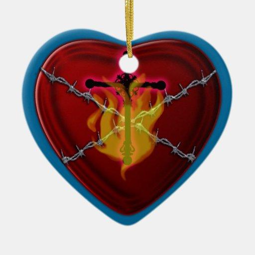 el corazón sagrado adorno navideño de cerámica en forma de corazón