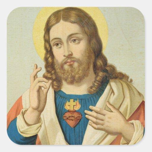 El corazón sagrado pegatinas cuadradases