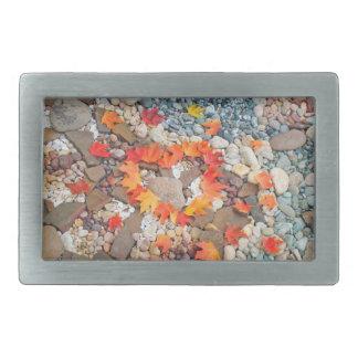 El corazón sale del jardín de piedras del otoño de hebillas cinturón rectangulares