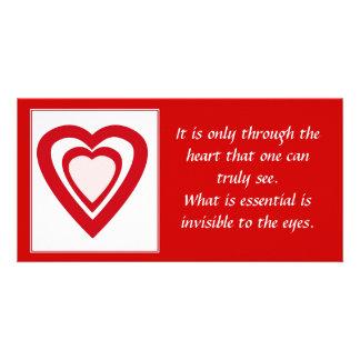 El corazón traslapado forma la tarjeta de la foto tarjetas fotograficas