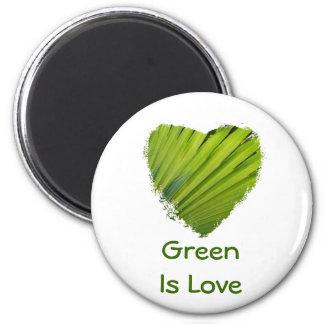 El corazón verde, verde es amor imanes para frigoríficos