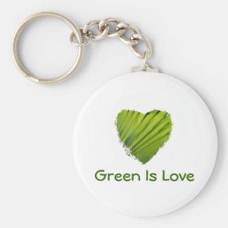 El corazón verde, verde es amor llavero redondo tipo pin