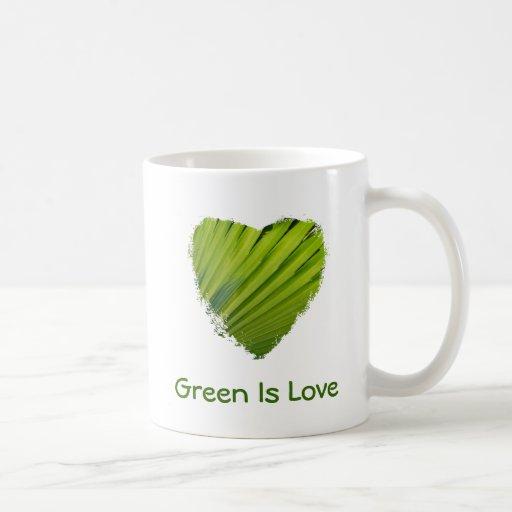 El corazón verde, verde es amor taza de café