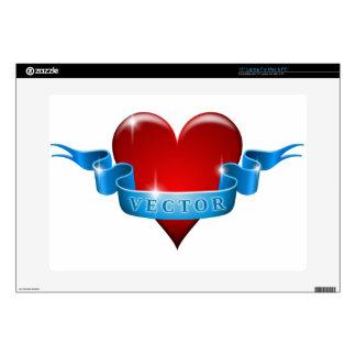 El corazón y la cinta remezclan amor skins para portátiles