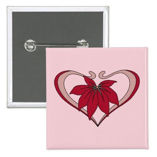 El corazón y la flor de Nouveau del arte aman rojo Pin