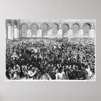 """El """"Corbeille"""" en la bolsa de París, 1873 Poster"""
