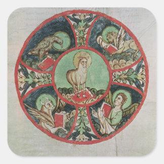El cordero de dios pegatina cuadrada