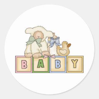 El cordero del bebé bloquea a los pegatinas pegatina redonda