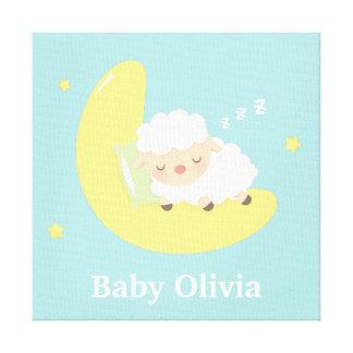 El cordero lindo del bebé el dormir embroma la impresiones de lienzo