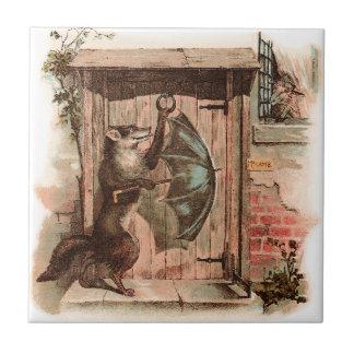 El cordero no dejará el lobo entrar azulejo cuadrado pequeño