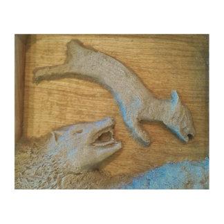 El cordero y el escultor de la arena del lobo cuadro de madera
