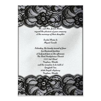 """El cordón blanco y negro invita invitación 5"""" x 7"""""""
