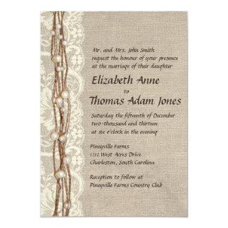 El cordón de la arpillera del vintage gotea la invitación 12,7 x 17,8 cm