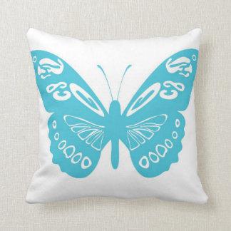 El cordón de la mariposa de las azules turquesas almohada
