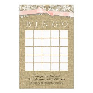 El cordón del vintage y se ruboriza bingo de la du personalized stationery