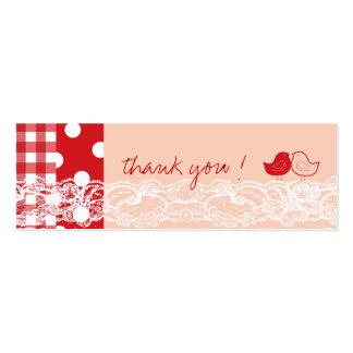 El cordón lindo rojo y rosado de los pájaros le tarjetas de visita mini