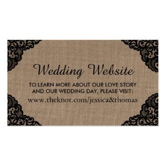 El cordón negro en el Web site rústico del boda de Tarjetas De Visita