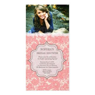 El cordón nupcial Paisley del rosa de la madreselv Tarjetas Fotograficas Personalizadas