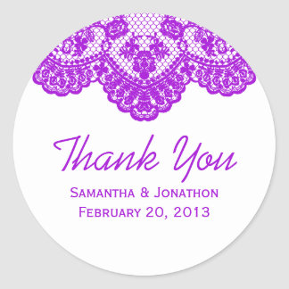 El cordón púrpura y el boda blanco le agradecen etiquetas