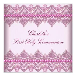 """El cordón rosado gotea comunión del rosa de los invitación 5.25"""" x 5.25"""""""