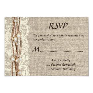 El cordón rústico de la arpillera gotea la invitación 8,9 x 12,7 cm