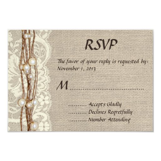 """El cordón rústico de la arpillera gotea la invitación 3.5"""" x 5"""""""