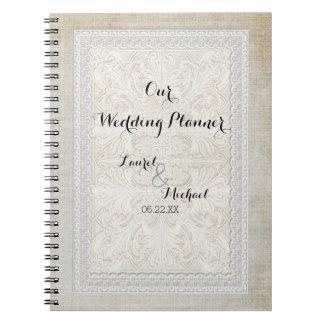 El cordón rústico w del planificador del boda libros de apuntes