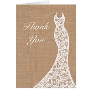 El cordón y la arpillera hermosos le agradecen car tarjetas