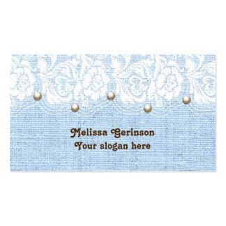 El cordón y las perlas blancos en azul colorearon tarjetas de visita
