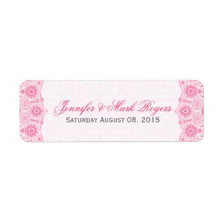 El cordón y los damascos del rosa de la etiqueta etiquetas de remite