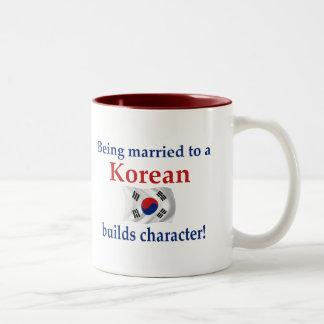 El coreano construye el carácter tazas